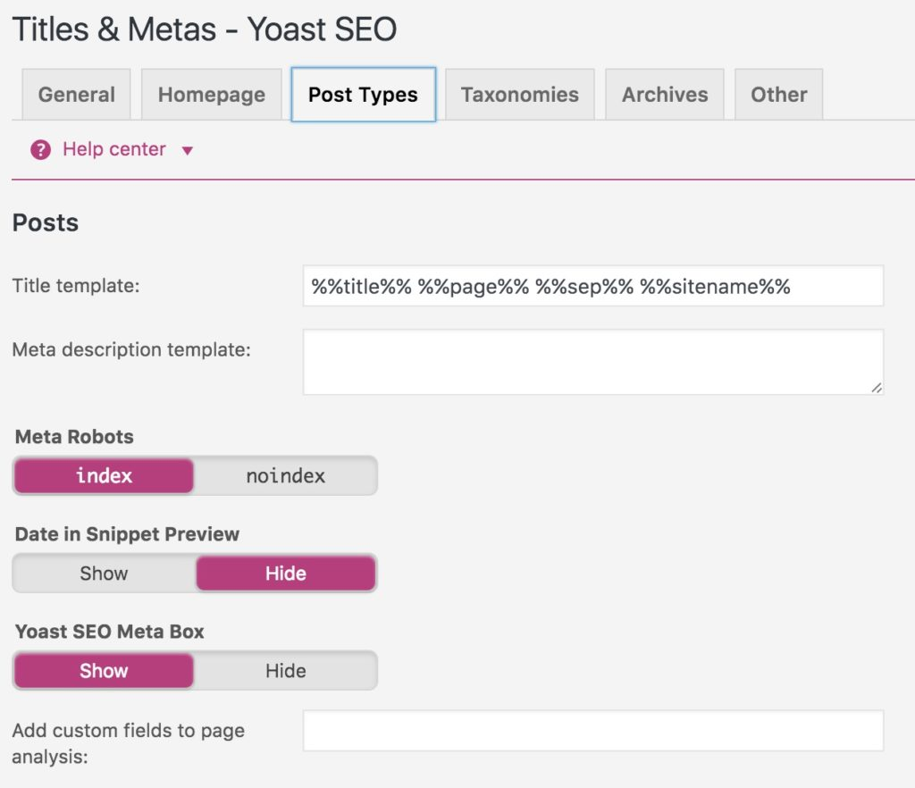 Configuration type des titres des articles avec YOAST SEO
