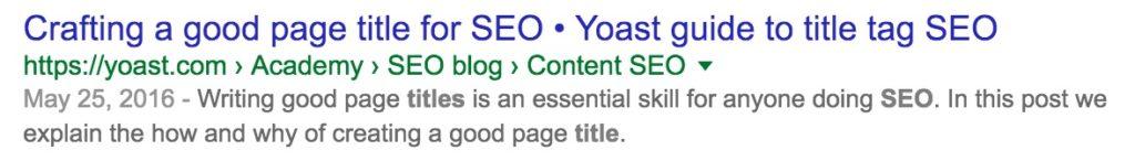 affichage d'un titre seo dans  les SERPs de Google